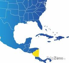 Poloha Nikaragui na mapě Severní Ameriky