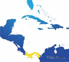 Poloha Panamy na mapě Severní Ameriky