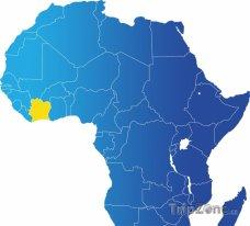 Poloha Pobřeží slonoviny na mapě Afriky
