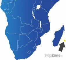 Poloha Réunionu na mapě Afriky