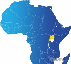 Poloha Ugandy na mapě Afriky