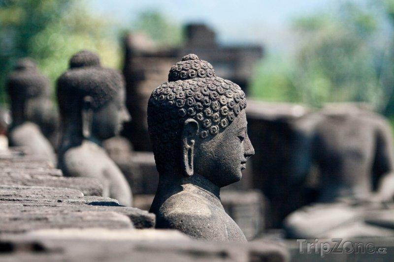 Fotka, Foto Buddhové u chrámu Borobudur (Indonésie)