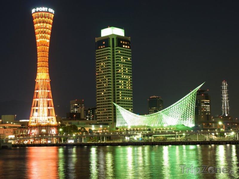 Fotka, Foto Kóbe, noční přístav (Japonsko)
