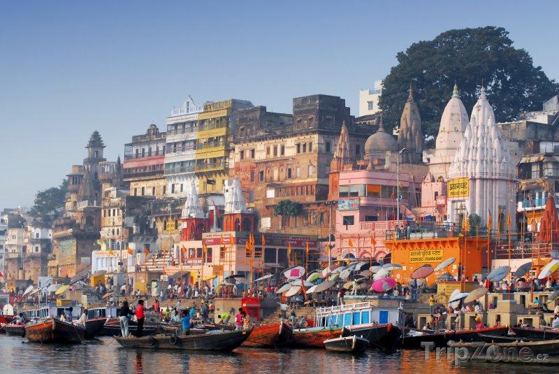 Fotka, Foto Lodě u břehu města Váránasí (Indie)