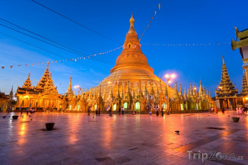 Fotka, Foto Osvětlená Šweitigoumská pagoda (Barma)