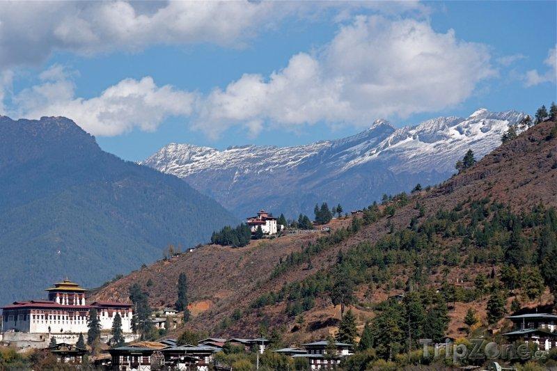 Fotka, Foto Pohled na klášter Rinpung Dzong (Bhútán)
