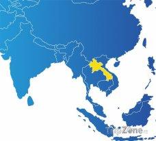 Poloha Laosu na mapě Asie