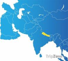 Poloha Nepálu na mapě Asie