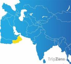 Poloha Ománu na mapě Asie