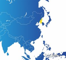 Poloha Severní Koreji na mapě Asie