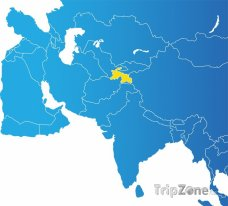 Poloha Tadžikistánu na mapě Asie