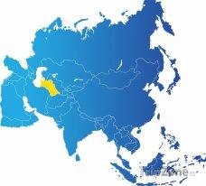 Poloha Turkmenistánu na mapě Asie