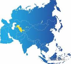 Poloha Uzbekistánu na mapě Asie