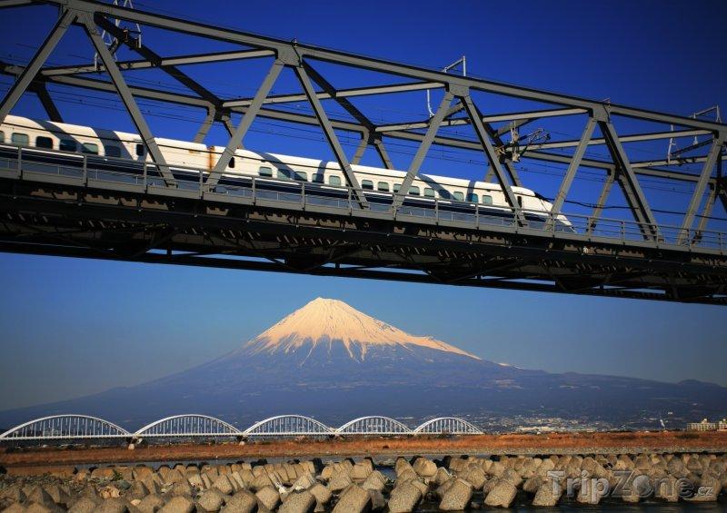 Fotka, Foto Šinkanzen a hora Fudži (Japonsko)