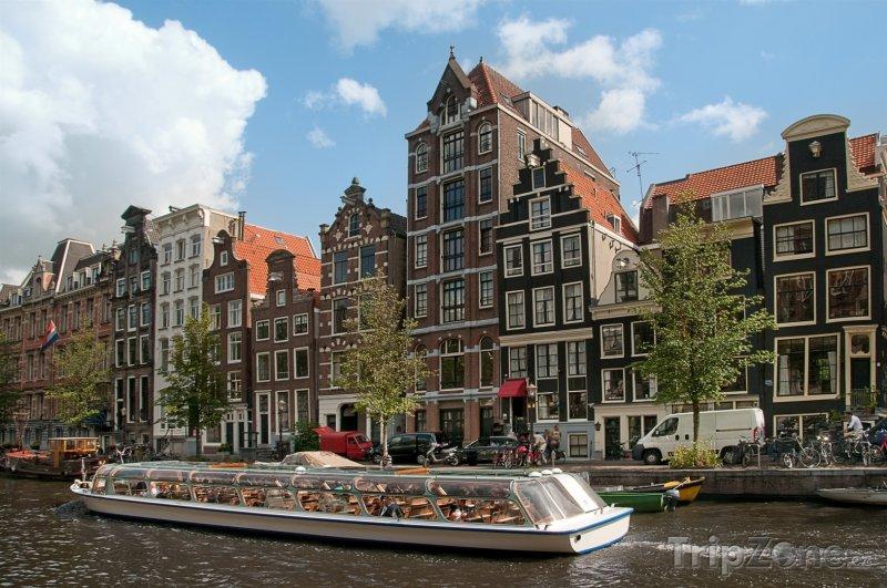 Fotka, Foto Amsterdam, výletní loď na kanále (Nizozemsko)