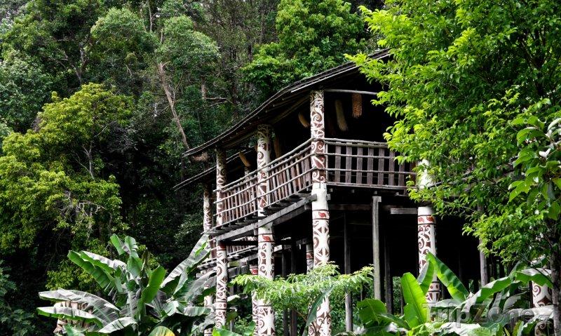 Fotka, Foto Borneo, chýše ve státě Sarawak (Malajsie)
