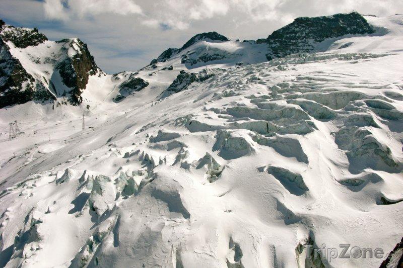 Fotka, Foto Ledovec u městečka Saas-Fee (Švýcarsko)