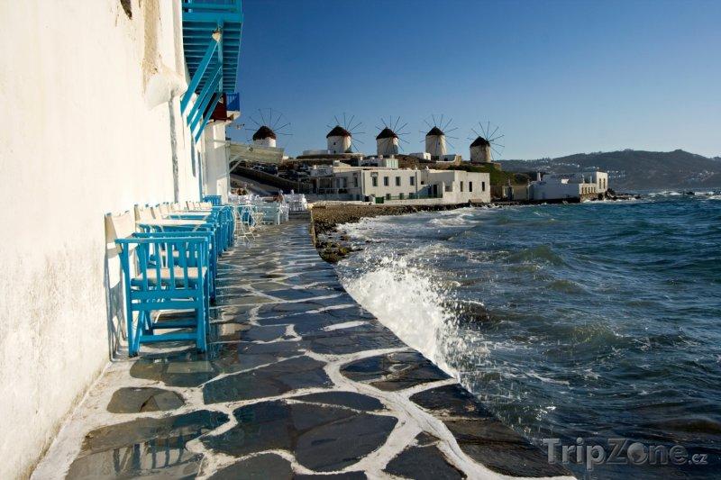 Fotka, Foto Mykonos, pohled na větrné mlýny (Řecko)