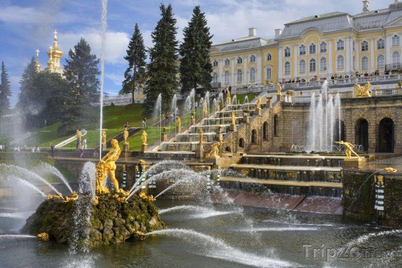 Fotka, Foto Palác s Velkou kaskádou ve městě Petěrgof (Rusko)