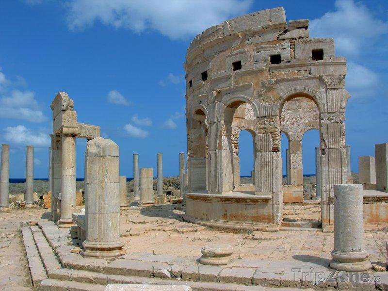 Fotka, Foto Ruiny tržiště ve starověkém městě Leptis Magna (Libye)