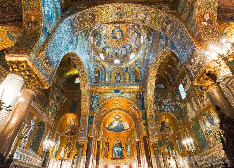 Fotka, Foto Interiér kostela Martorana na Piazza Bellini (Palermo, Itálie)