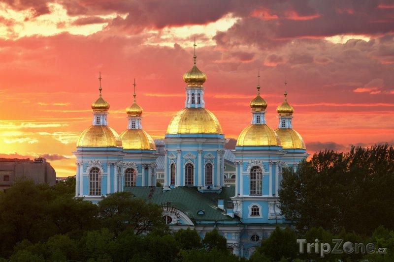 Fotka, Foto Katedrála v západu slunce (Petrohrad, Rusko)