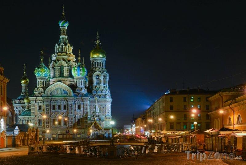 Fotka, Foto Kostel Spasitele v krvi v noci (Petrohrad, Rusko)