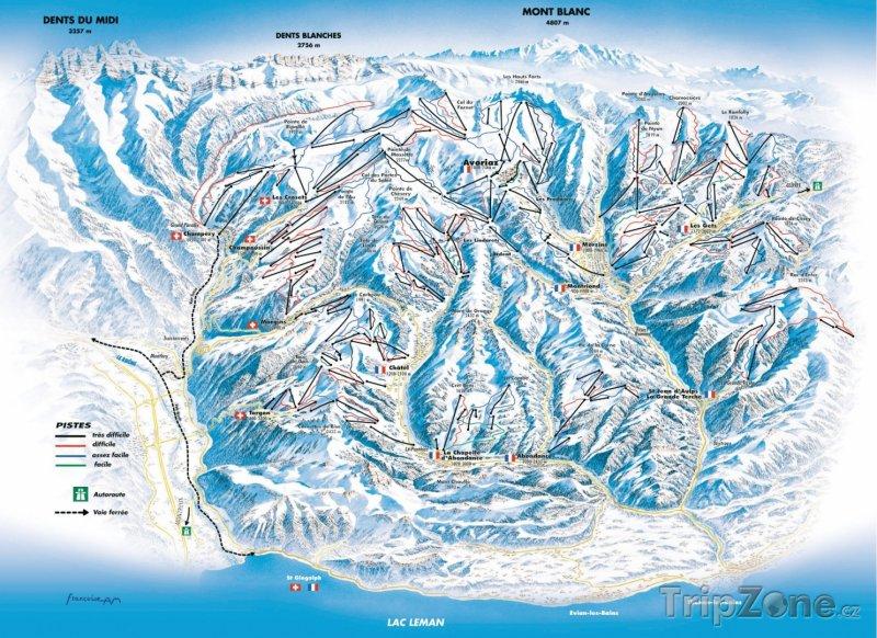 Fotka, Foto Mapa lyžařského střediska Avoriaz