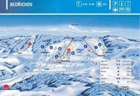 Mapa lyžařského střediska Bedřichov
