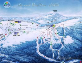 Mapa lyžařského střediska Boží Dar