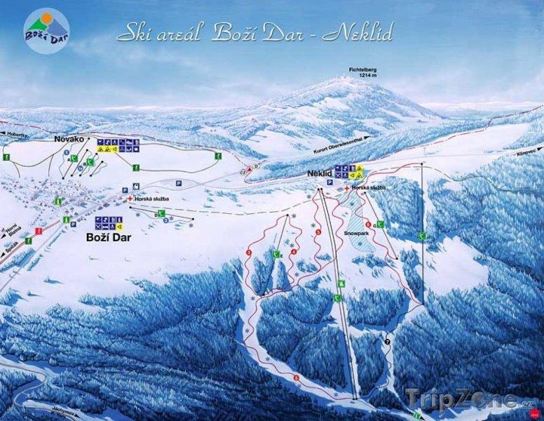 Fotka, Foto Mapa lyžařského střediska Boží Dar