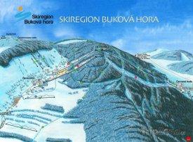 Mapa lyžařského střediska Buková hora