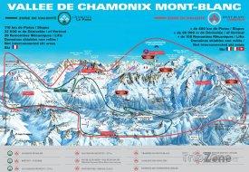 Mapa lyžařského střediska Chamonix