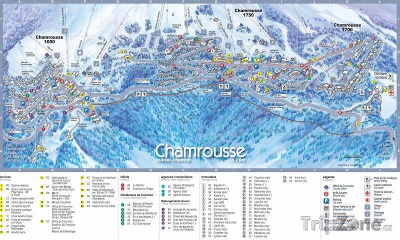 Fotka, Foto Mapa lyžařského střediska Chamrousse
