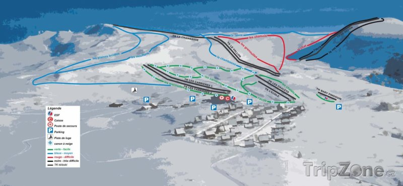 Fotka, Foto Mapa lyžařského střediska Chastreix-Sancy