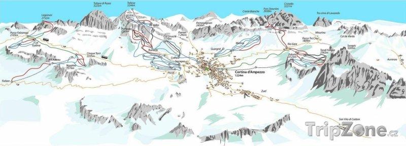 Fotka, Foto Mapa lyžařského střediska Cortina d'Ampezzo