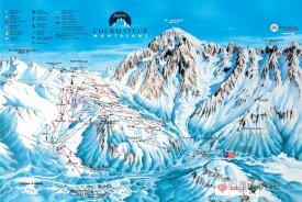 Mapa lyžařského střediska Courmayeur