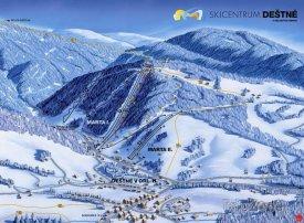 Mapa lyžařského střediska Deštné v Orlických horách