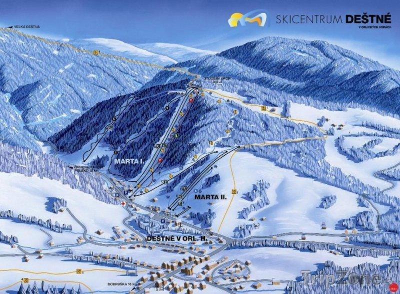 Fotka, Foto Mapa lyžařského střediska Deštné v Orlických horách