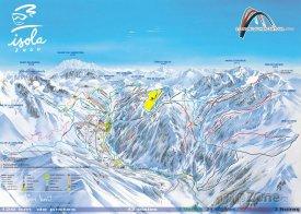 Mapa lyžařského střediska Isola 2000