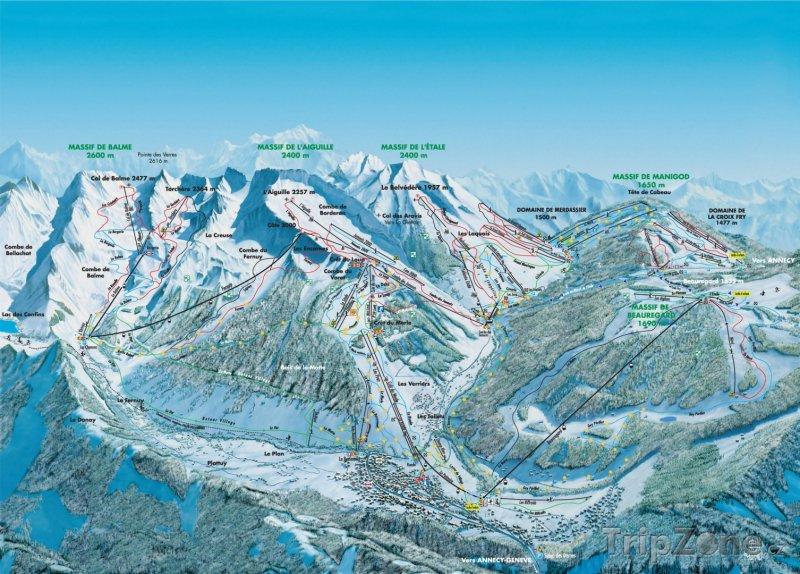 Fotka, Foto Mapa lyžařského střediska La Clusaz