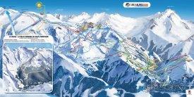 Mapa lyžařského střediska Les 2 Alpes