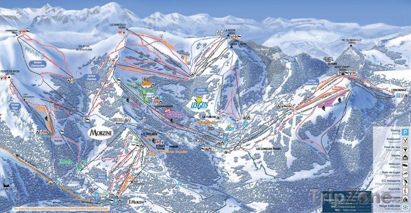 Fotka, Foto Mapa lyžařského střediska Les Gets