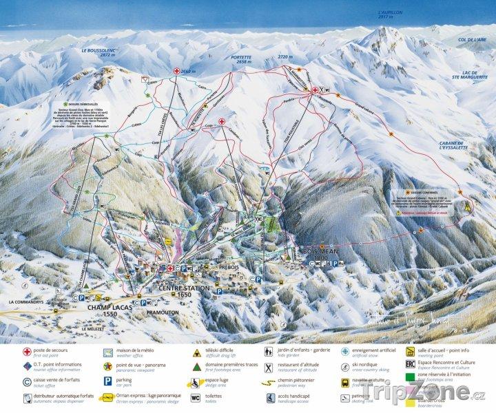 Fotka, Foto Mapa lyžařského střediska Les Orres