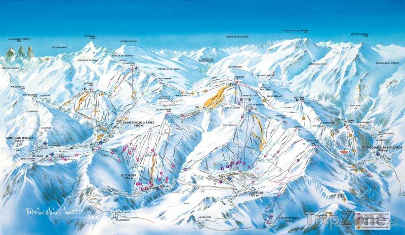 Fotka, Foto Mapa lyžařského střediska Les Sybelles