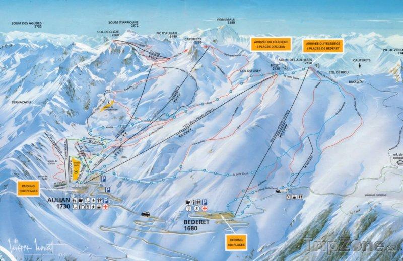 Fotka, Foto Mapa lyžařského střediska Luz Ardiden