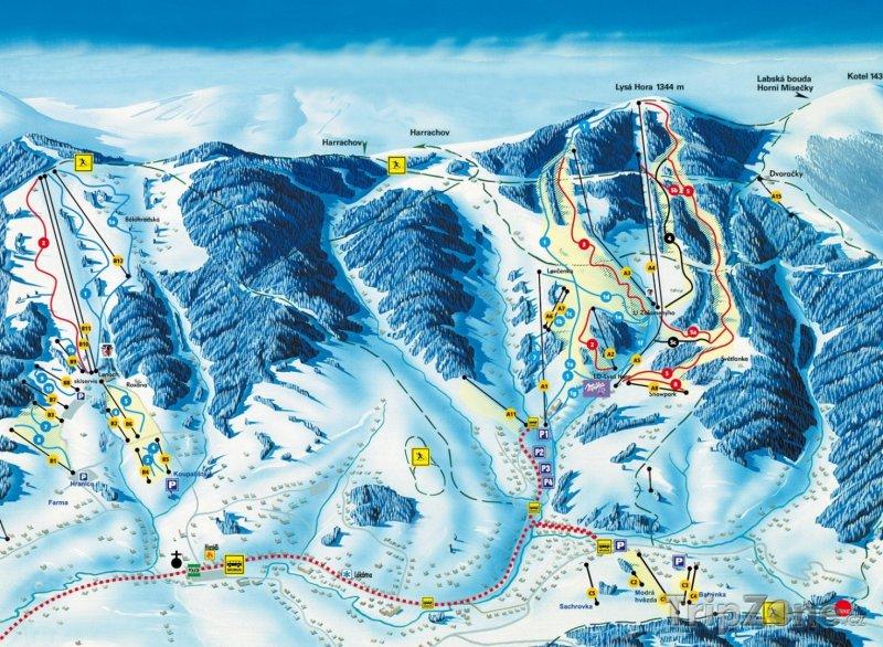 Fotka, Foto Mapa lyžařského střediska Lysá hora
