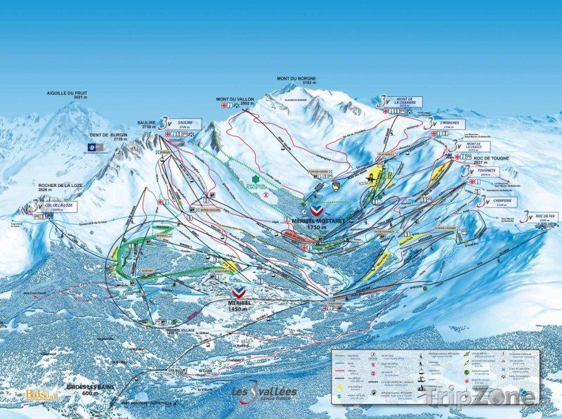 Fotka, Foto Mapa lyžařského střediska Méribel