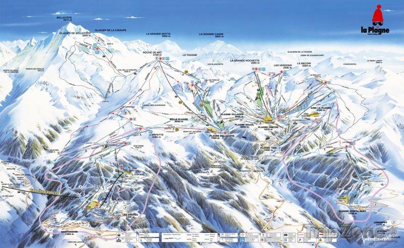 Fotka, Foto Mapa lyžařského střediska Montalbert