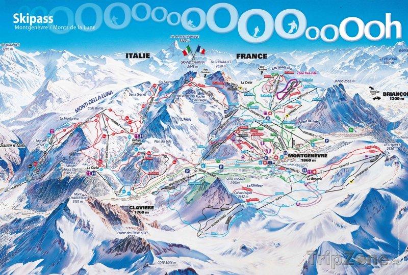 Fotka, Foto Mapa lyžařského střediska Montgenèvre